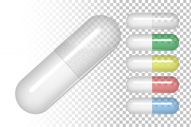 Pilules de couleurs différentes.