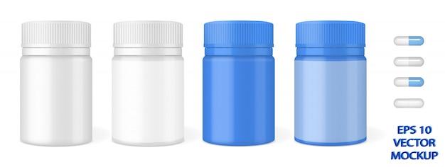 Pilules et emballages plastiques brillants pour tablettes.