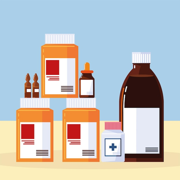 Pilules et flacons de pharmacie