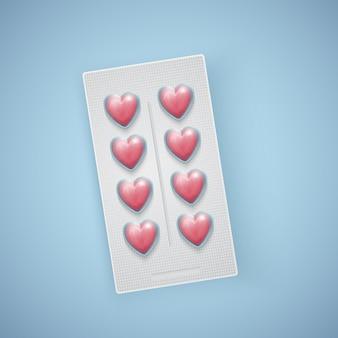 Pilules en forme de coeur, soins cardiaques, fournitures médicales, réalistes