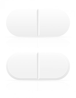 Pilules médicales blanches pour illustration vectorielle de traitement