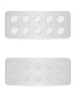 Pilules médicales dans un emballage vide à titre d'illustration vectorielle de traitement