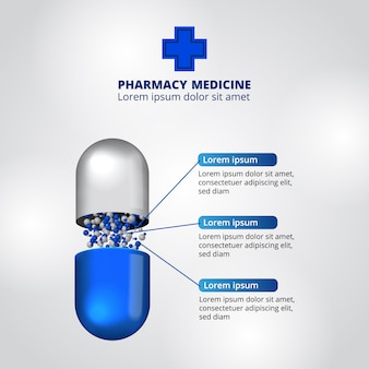 Pilules pharmacie illustration données modèle infographique