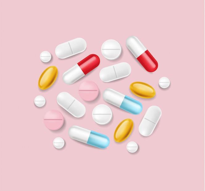 Pilules réalistes. pile médicale de différentes illustrations 3d de médecine