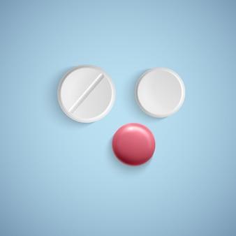 Pilules réalistes sur un produit médical