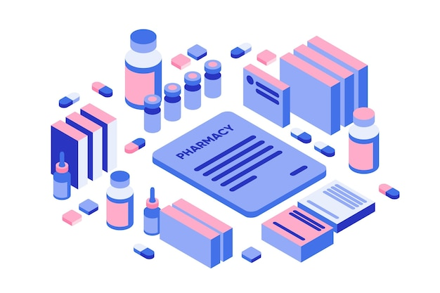 Pilules et tubes de pharmacie vue isométrique