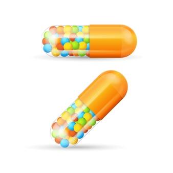 Pilules de vitamines colorées avec des granules de médicaments sur ordonnance capsule concept de soins de santé. illustration vectorielle