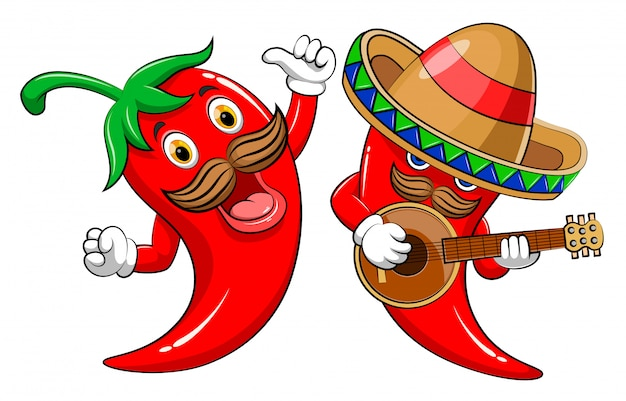Piment chaud à deux personnages jouant de la guitare et chantant