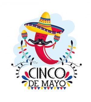 Piment chili aux maracas et chapeau à un événement mexicain