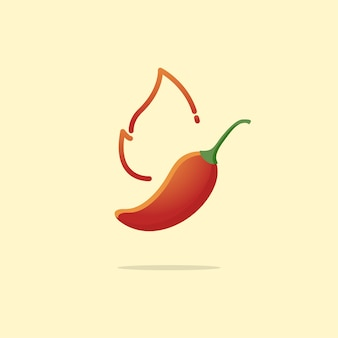 Piment fort et épicé au feu
