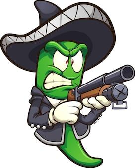 Piment jalapeno vert avec une tenue de mariachi et un fusil de chasse