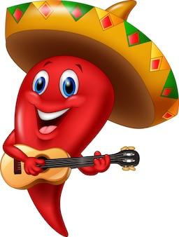 Piment de mariachi portant sombrero jouant de la guitare