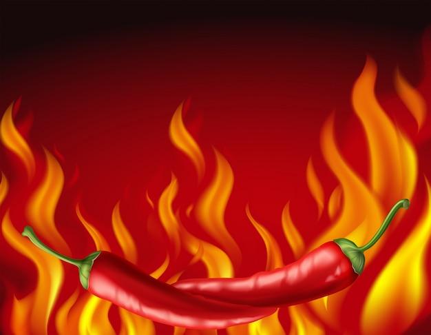 Piments rouges et feu chaud en arrière-plan