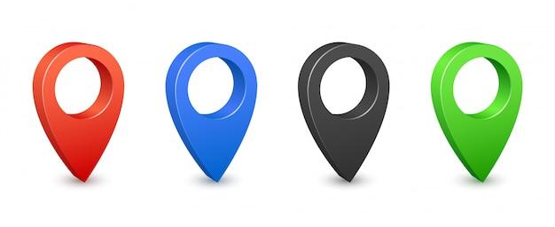 Pin carte lieu emplacement icônes 3d. épingles de carte gps couleur. placez les panneaux de localisation et de destination. pointeurs de navigation