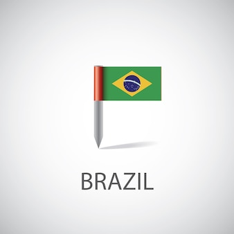 Pin du drapeau du brésil sur fond blanc
