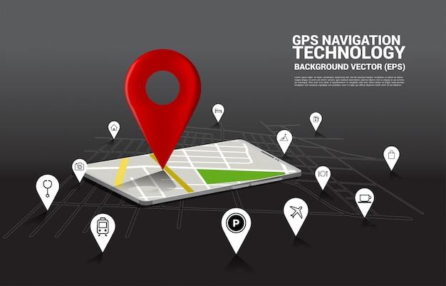 Pin gps 3d et carte dans l'application de téléphone mobile. concept de lieu et d'installation, technologie gps