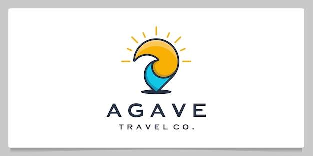 Pin point voyage vague plage logo design coloré