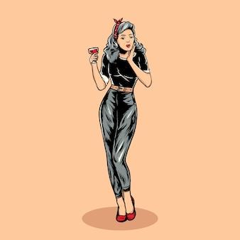 Pin up girls illustration vectorielle vintage