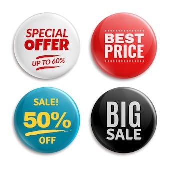 Pin de vente. bouton de badges cerclés, étiquette de prix brillant 3d. grande vente, meilleur prix et ensemble de badges offre spéciale