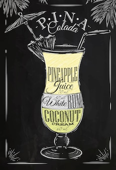 Pina colada craie de cocktail