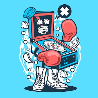 Pinball boxer cartoon