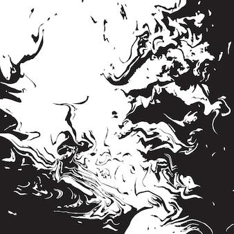 Pinceau abstrait avec du noir sur fond blanc