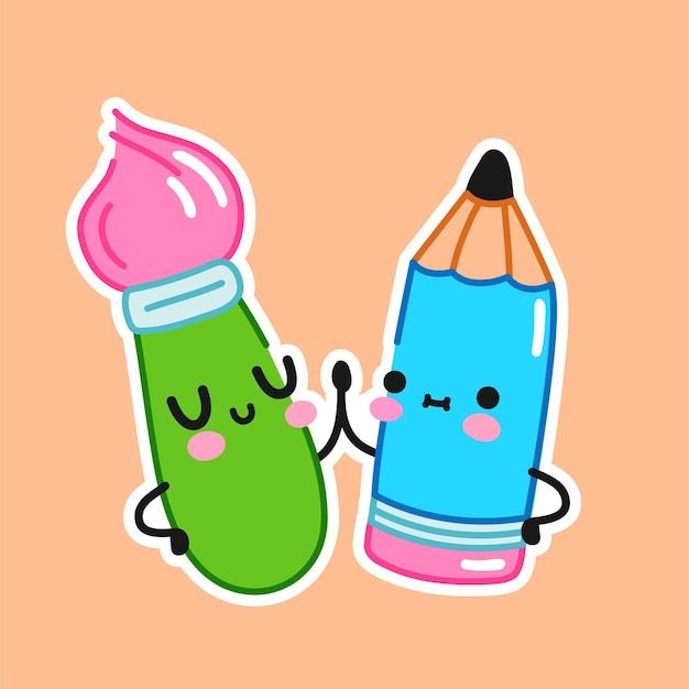 Pinceau et crayon drôles mignons. icône du logo illustration vecteur ligne plate dessin animé personnage kawaii. pinceau, crayon, concept de logo de dessin d'enfants