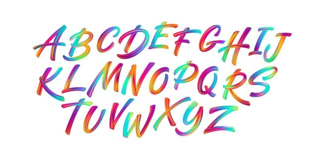 Pinceau d'écriture en couleur lettrage des lettres de l'alphabet latin.