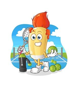 Le pinceau joue au tennis. personnage