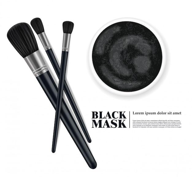 Pinceau de maquillage et conception de masque facial au charbon, produit de beauté ensemble réaliste 3d, pinceaux isolés sur l'illustration de fond blanc