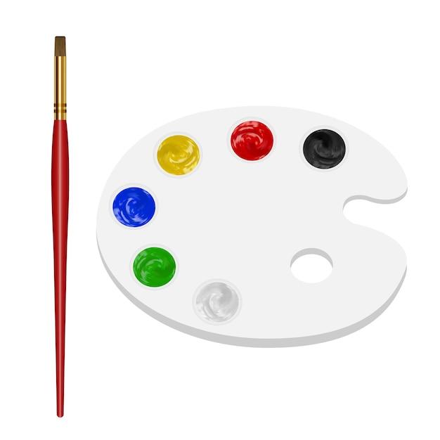 Pinceau avec palette de couleurs sur fond blanc