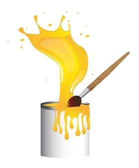 Pinceau avec peinture bouteille jaune splash