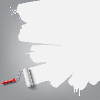 Pinceau à rouleau avec peinture blanche