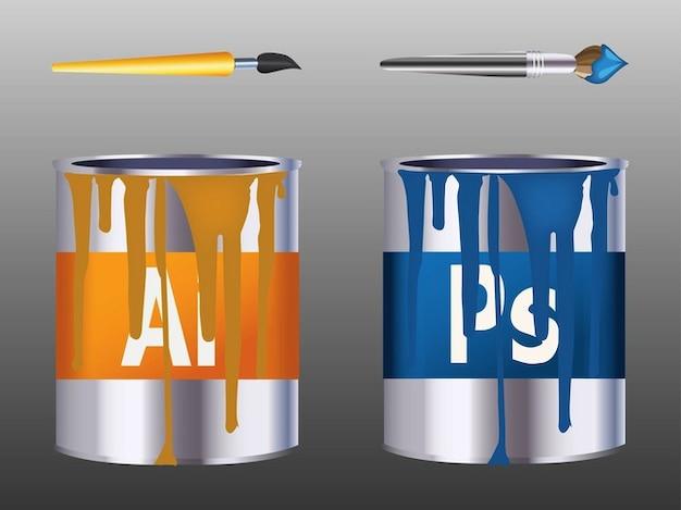Pinceaux colorés logos métalliques
