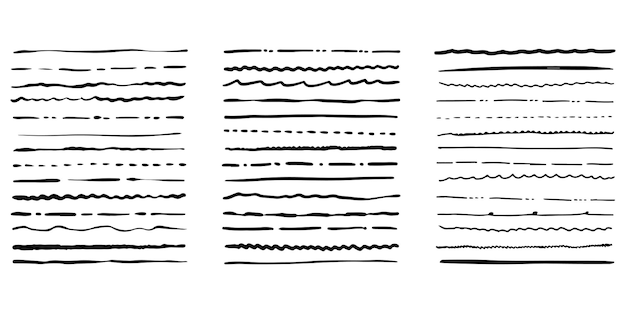 Pinceaux grunge dessinés à la main. ensemble de pinceaux à plumes artistiques isolés sur fond blanc. illustration vectorielle.