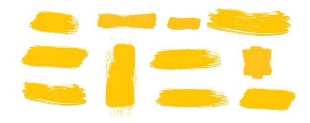 Pinceaux jaunes traits de textures de peinture pinceaux de frottis jaunes