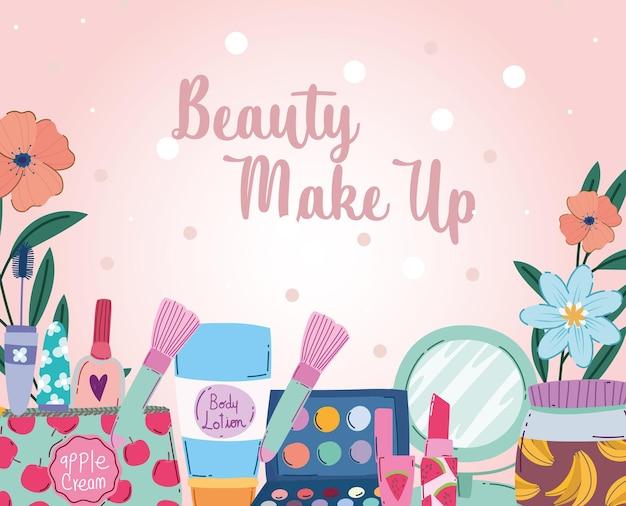 Pinceaux de maquillage de beauté, palettes de poudre, rouge à lèvres, crayon pour les yeux, illustration vectorielle de vernis à ongles
