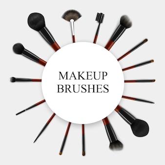 Pinceaux de maquillage cadre de jeu réaliste