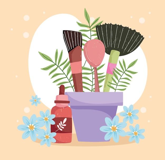 Pinceaux de maquillage et huile à base de plantes