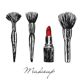 Pinceaux de maquillage et illustration dessinée à la main de rouge à lèvres