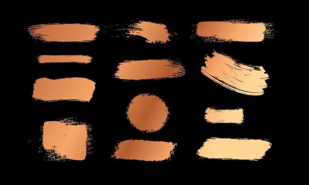 Pinceaux d'or peignez les textures dessinez des traits de graffiti pinceaux de frottis jaune