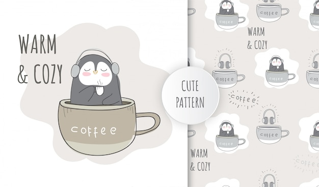 Pingouin animal mignon motif plat sur la tasse de café