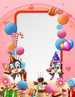 Pingouin d'anniversaire avec des bonbons et fond rose