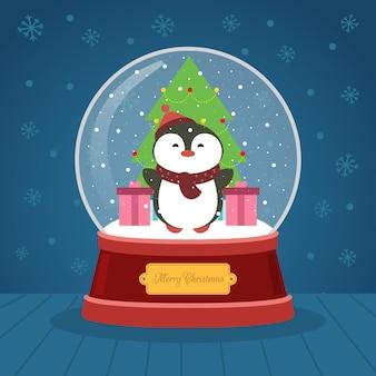 Pingouin boule de cristal de noël