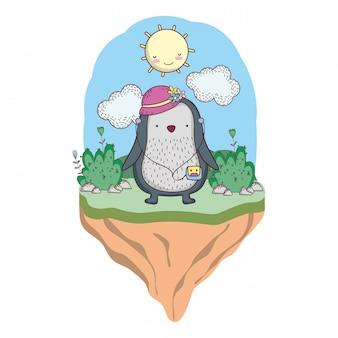 Pingouin avec chapeau féminin et baladeur dans le camp
