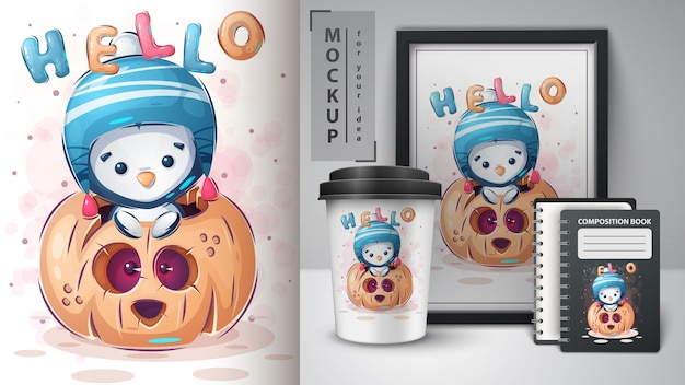 Pingouin à la citrouille - affiche et merchandising