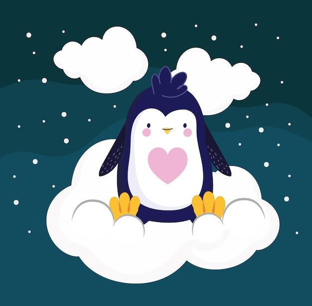 Pingouin dans le ciel nocturne de nuages