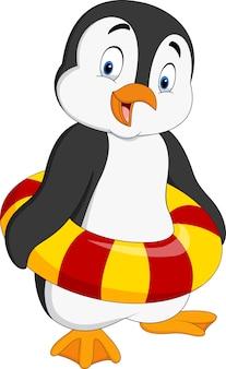 Pingouin de dessin animé avec anneau gonflable