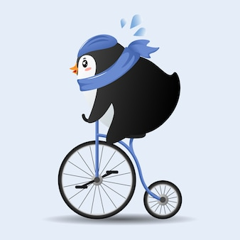 Pingouin de dessin animé mignon, faire du vélo avec un foulard bleu.