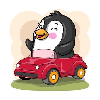 Pingouin de dessin animé mignon monter une illustration de voiture pour les enfants